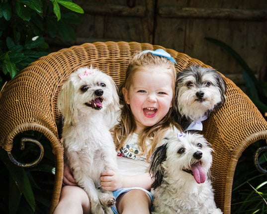 Girl with her Dogs - Portrait